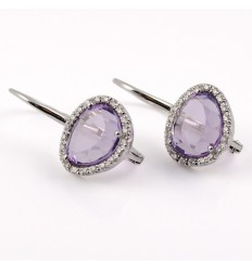 Earrings in gold white diamonds and Amethyst GRE/O001SA-: 01