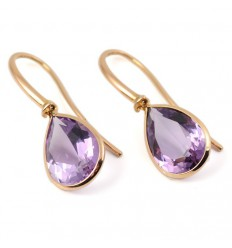 Earrings rose gold and Amethyst A19-O015A: 03