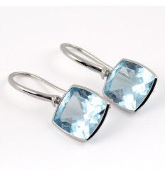 Earrings white gold and Blue Topaz A19-O012T: 01