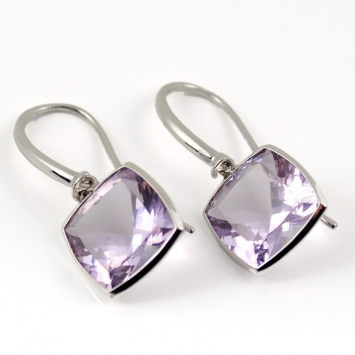 Earrings white gold and Amethyst A19-O012A: 01