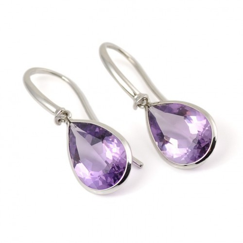 Earrings white gold and Amethyst A19-O015A: 01