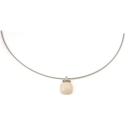Pendant gold white diamonds and Coral C2244