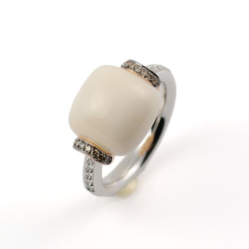 Ring rose gold white gold diamonds and Coral A5544