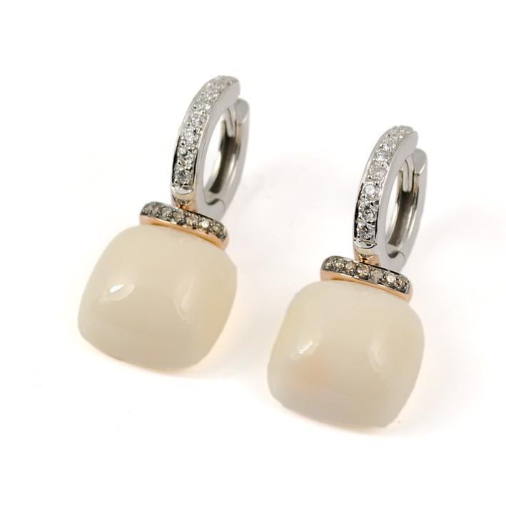 5683b5d54292 Pendientes Oro Blanco Oro Rosa Diamantes y Coral R3858