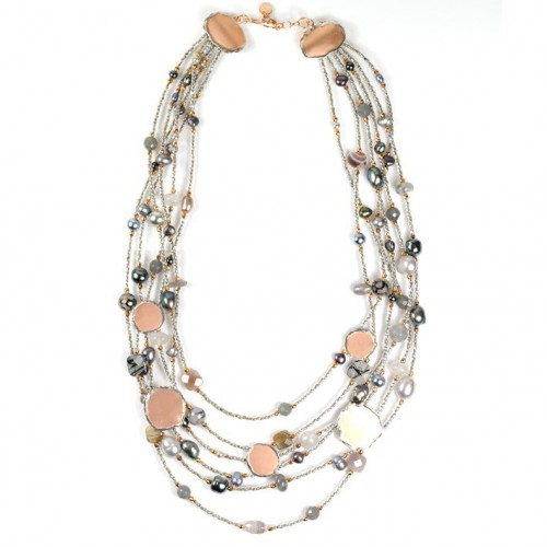 Necklace silver grey CL002442GPV6FX