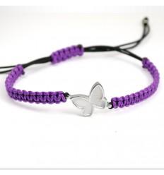 Macrame Bracelet Silver Purple Butterfly PAP001BR504