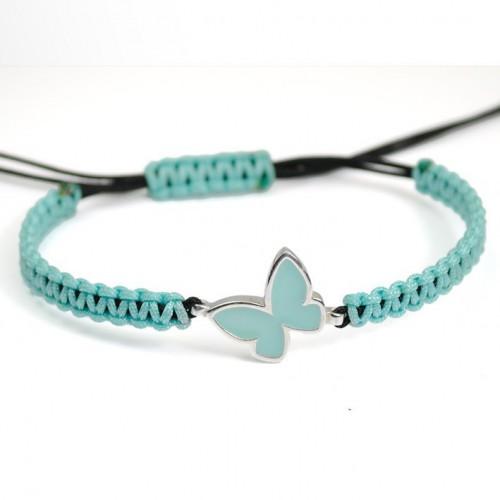 Macrame Bracelet Silver turquoise Enamel Butterfly PAP914BR514