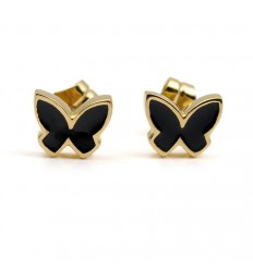 Butterfly Earrings silver plated black enamel PAP902AR700