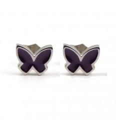 Butterfly Earrings silver puple enamel PAP904AR500