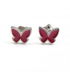Butterfly Earrings silver fuchsia enamel PAP912AR500