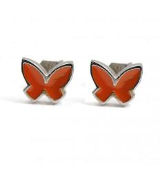 Butterfly Earrings silver orange enamel PAP913AR500