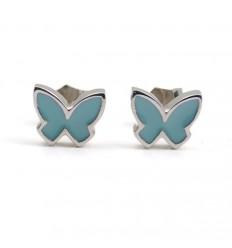 Butterfly Earrings silver turquoise enamel PAP914AR500