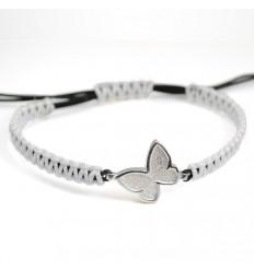 Macrame Bracelet Silver White Butterfly PAP001BR501