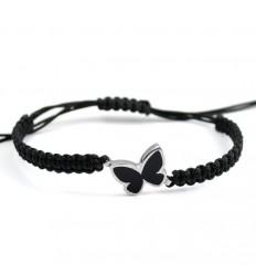 Macrame Bracelet Silver Black Enamel Butterfly PAP902BR502