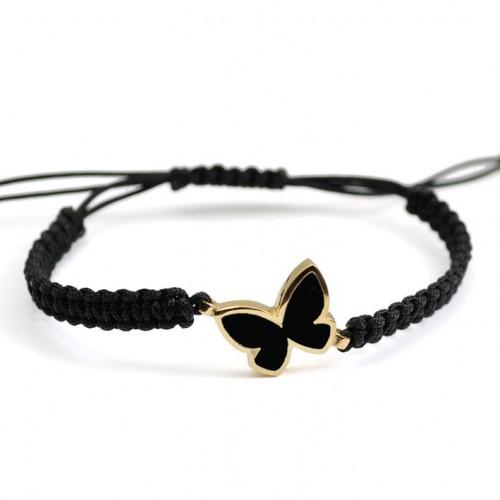 Butterfly Silver Gold Enamel Bracelet Macrame black PAP902BR702