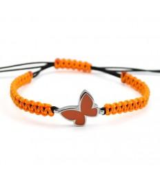 Macrame Bracelet Silver Orange Enamel Butterfly PAP913BR513