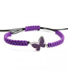 Macrame Bracelet Silver Purple Enamel Butterfly PAP904BR504