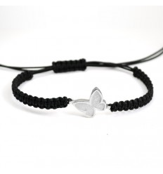 Macrame Bracelet Silver Black Butterfly PAP001BR502