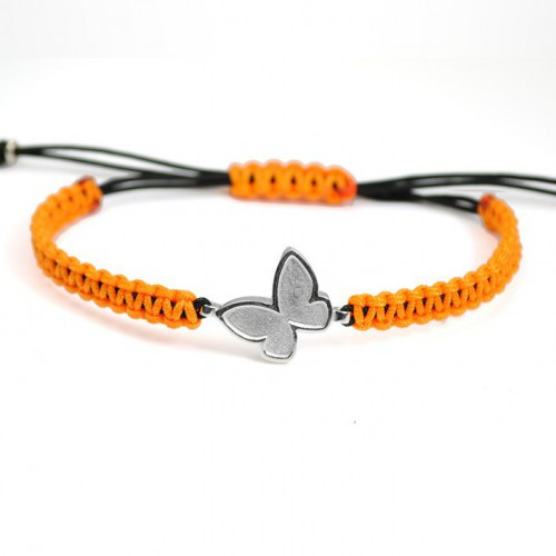 Macrame Bracelet Silver Orange Butterfly PAP001BR513