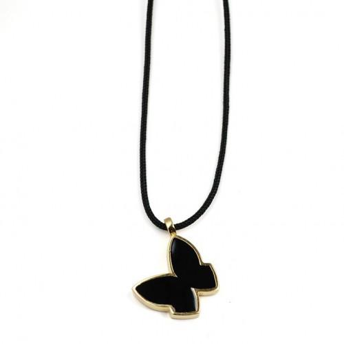 Silver Gold Butterfly Pendant Black Enamel PAP902PJ702