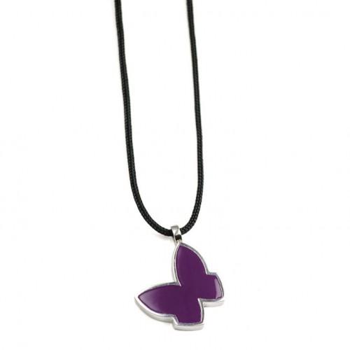 Purple Butterfly Enamel Pendant Silver PAP904PJ502