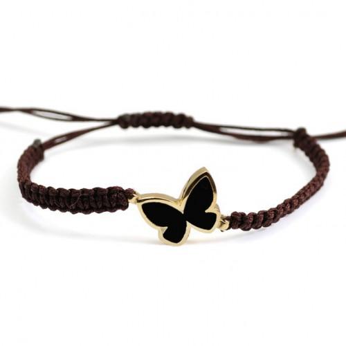 Butterfly Silver Gold Enamel Bracelet Macrame black PAP902BR703