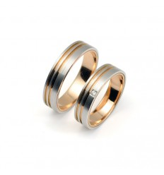Wedding Rings White Gold and Rose Gold AL0122B