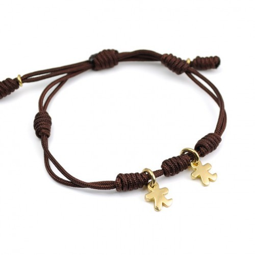 Knots Silver Bracelet golden brown children Inson IN03BR703