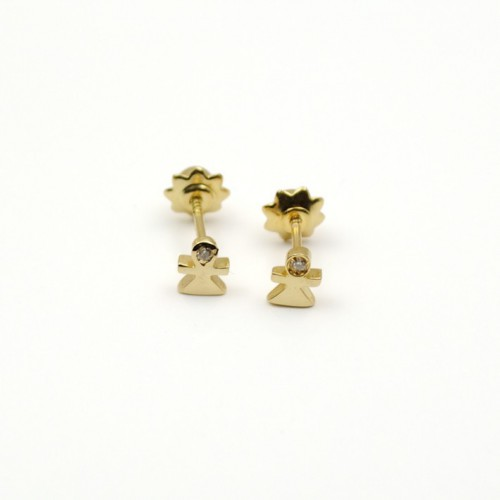 Birth baby girl Earrings yellow Gold and Diamonds 155055AOB