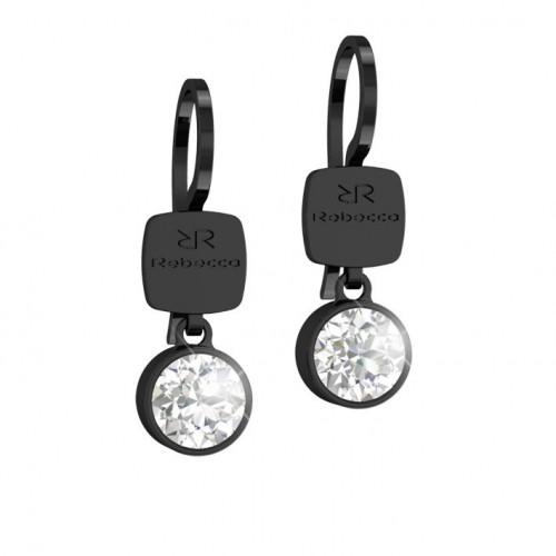 Candy Rebecca Black Rhodium Earrings Swarovski stone BCNONB15