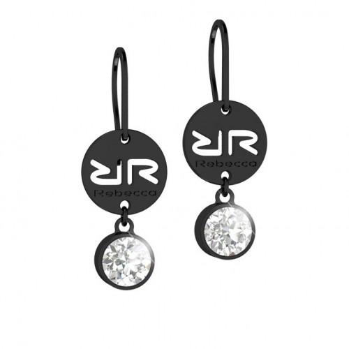 Candy Rebecca Black Rhodium Earrings Swarovski stone BWSONB01