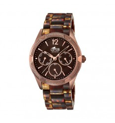 Watch Lotus Plated Women Trendy chocolate brown and carey. Multifunction. 15928/2