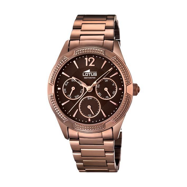 f23df5d35da2 Reloj Lotus Trendy mujer Chapado marrón chocolate. Multifunción. 15925 1