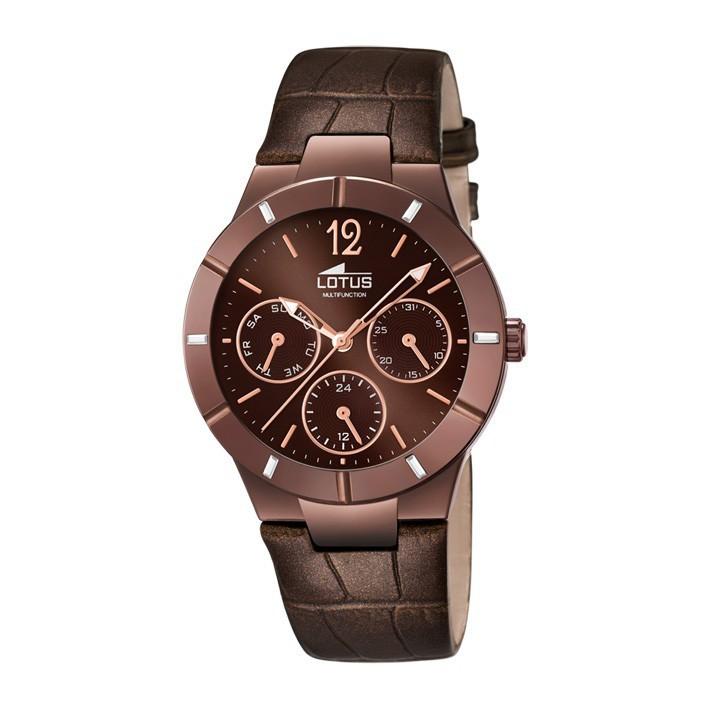 a04379138741 Reloj Lotus Trendy mujer Chapado marrón chocolate. Multifunción. 15918/2