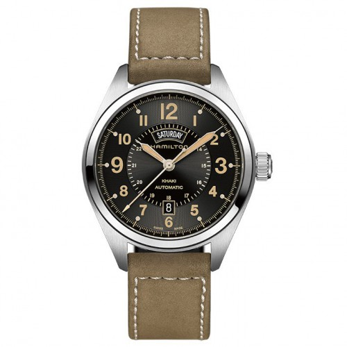 Hamilton khaki field Watch automatic day and date with leather strap. H70505833