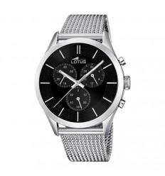 Lotus minimalist watch black dial stainless steel chronograph 18117/2