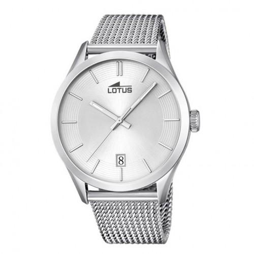 Lotus minimalist watch silver dial calendar 18108/1