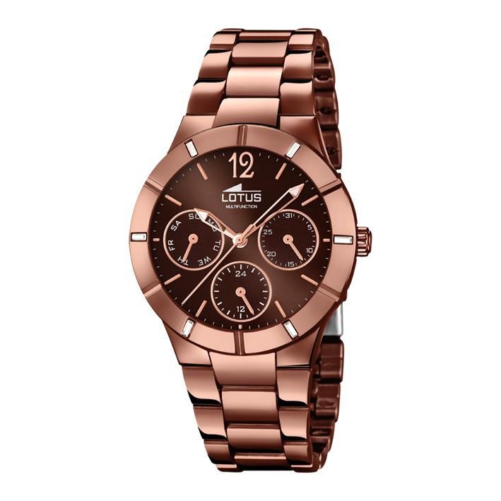 40c39c06efea Reloj Lotus Trendy brazalete color marrón oscuro multifunción 15999 2