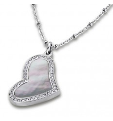 Lotus Style pendant heart mother of pearl stainless steel. LS1670-1 / 1