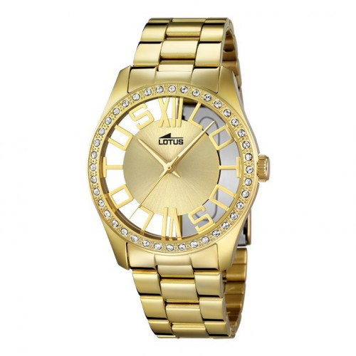 Lotus Watch Trendy transparent yellow gold plated bracelet. 18127/1