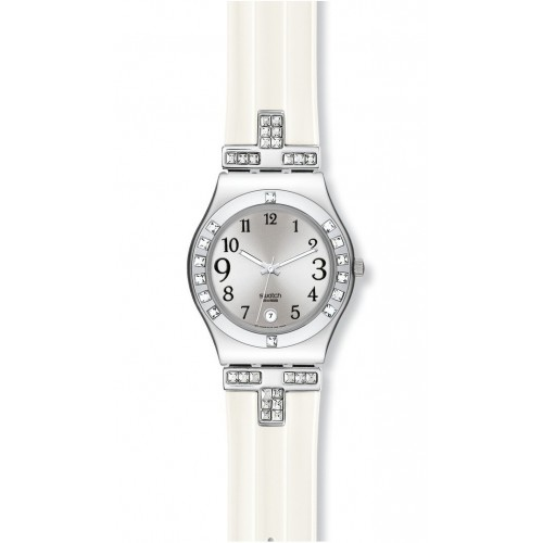 Swatch Irony Medium FANCY ME with white rubber strap YLS430
