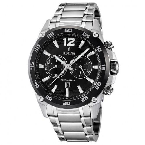 Festina chronograph watch black F16680/4 stainless steel bracelet
