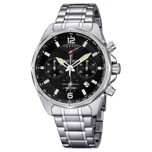 Festina chronograph watch 44mm men purchase F6835/3 black Color