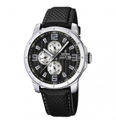 F16585/9 purchase Festina watch multifunction man black color leather strap