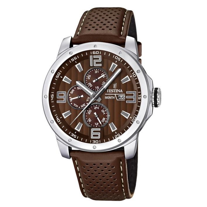 a4aab3f93cfd Comprar F16585 A Festina multifunción reloj para hombre correa cuero color  marrón