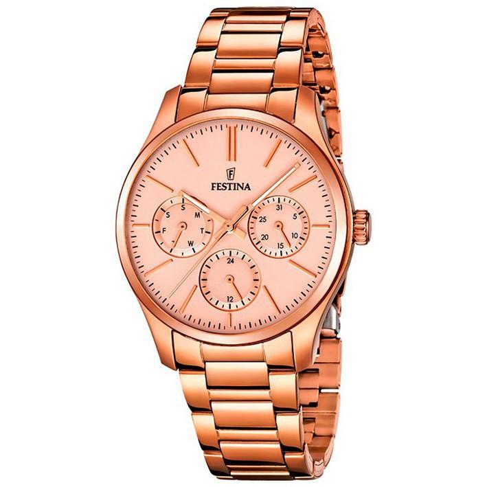 7eb9176ed4fe Reloj Festina mujer F16816 2 multifunción acero inoxidable color oro rosa