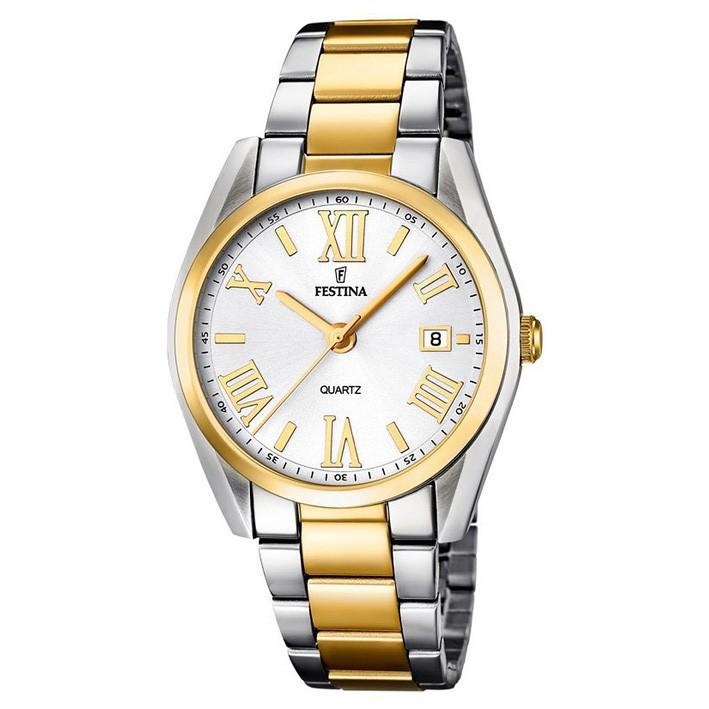 83adfed11111 Reloj Festina mujer acero inoxidable y dorado F16794 1 con calendario 37 mm