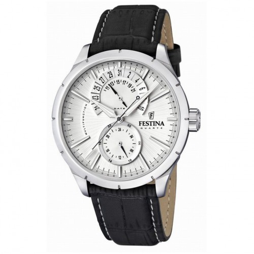 Man Festina watch 46mm F16573/1 black leather strap silver dial