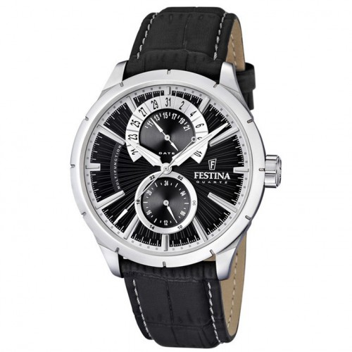 Man Festina watch black leather strap black dial F16573/3