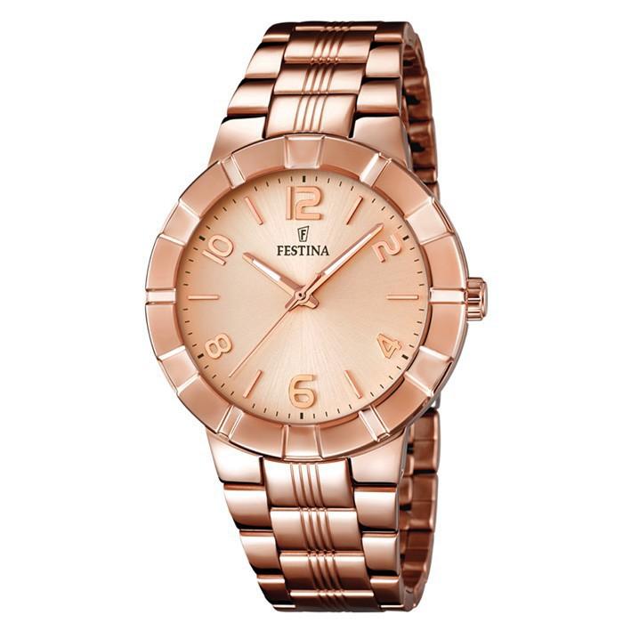 258e40bd4909 Reloj Festina mujer esfera rosa F16714 2 chapado oro rosa con números